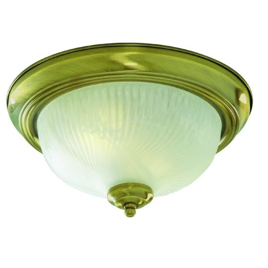 Flush Light In Antique Brass With Opal Glass Diffuser