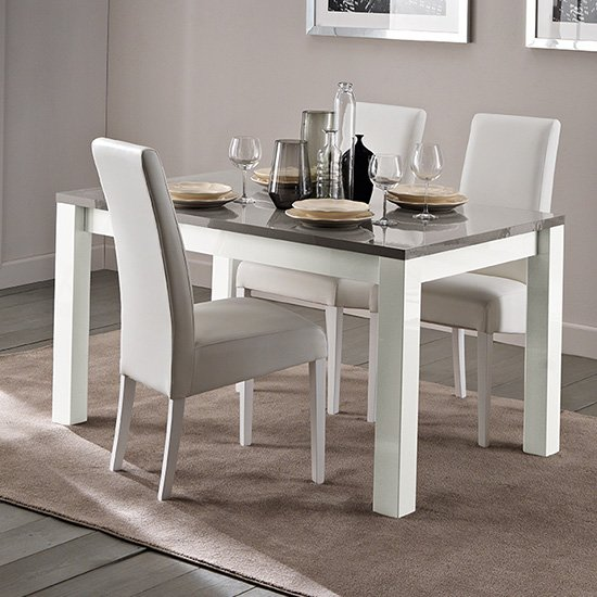 Fly Extending Wooden Dining Table In White And Grey High Gloss_2