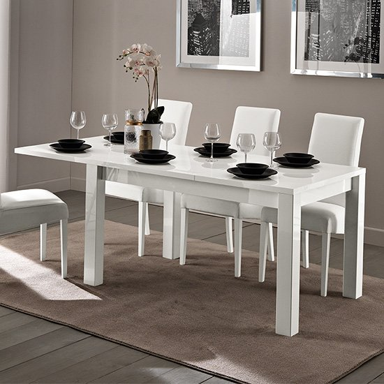 Fly Extending Wooden Dining Table In White High Gloss