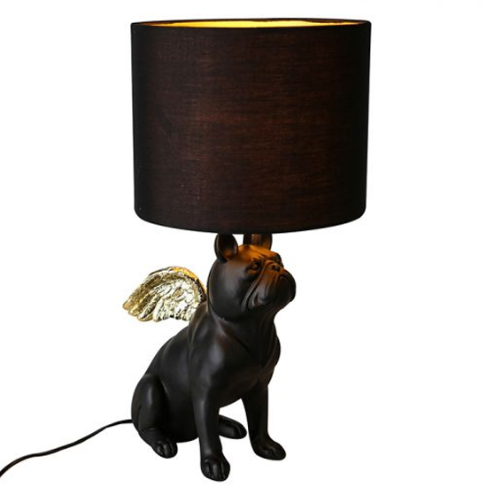 Flying Bully Dog Table Lamp In Black And Gold