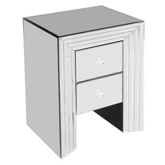 Mirrored 2 drawer bedside cabinet fm635 19380 furniture in for Mirror bedside cabinets