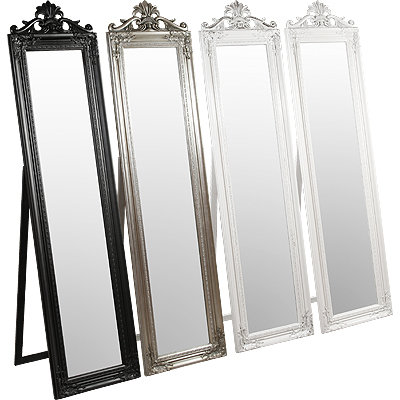 Elizabeth Standing Mirror In White And Silver Finish