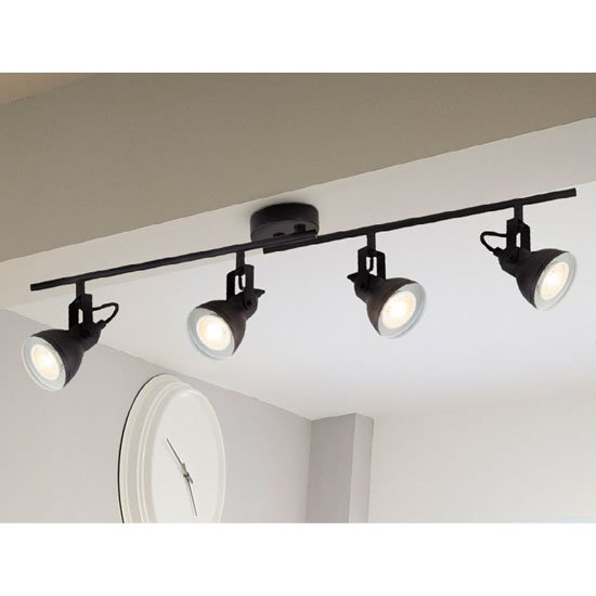Focus 4 Spot Ceiling Light Split Bar In Black