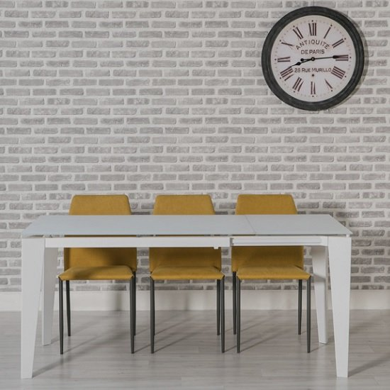 Folio Extendable Glass Dining Table White And 6 Yellow Chairs