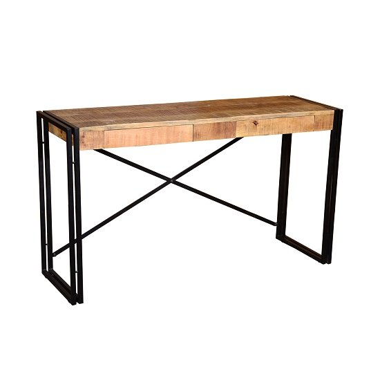 Follett Wooden Console Table In Natural With Black Metal Frame