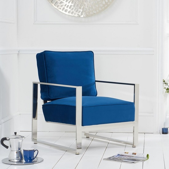 Brilliant Fong Velvet Accent Lounge Chair In Blue With Metal Frame Inzonedesignstudio Interior Chair Design Inzonedesignstudiocom
