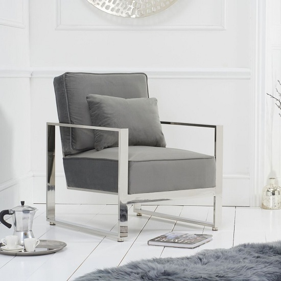 Fong Velvet Accent Lounge Chair In Grey With Metal Frame