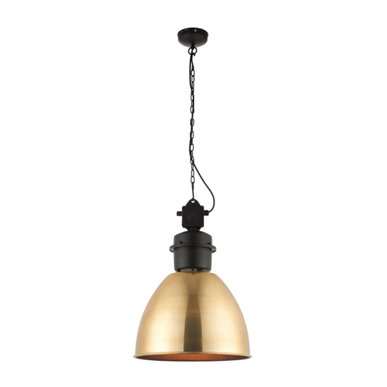 Ford Wall Hung Pendant Light In Black And Gold Effect