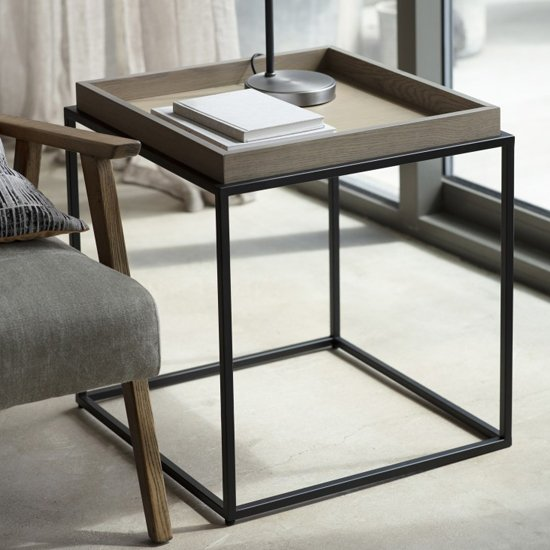 Forden Wooden Tray Side Table In Grey_1