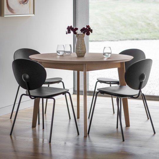 Forden Wooden Round Dining Table In Grey