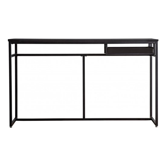Forden Wooden Computer Desk In Black With Metal Frame