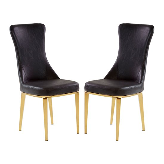 Denebola Black PU Leather Dining Chair In Pair