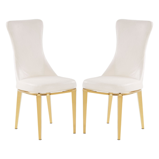 Denebola White PU Leather Dining Chair In Pair