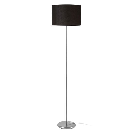 Formito Black Waffle Effect Shade Floor Lamp With Chrome Base