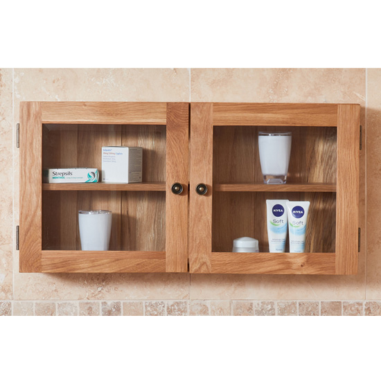 Fornatic Bathroom 2 Doors Wall Storage Cabinet In Mobel Oak