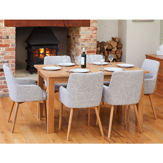 Product photograph showing Fornatic Dining Table In Mobel Oak 6 Light Grey Harrow Chairs