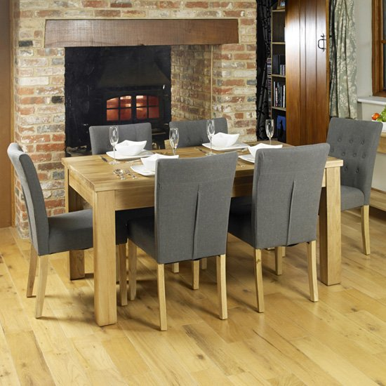 Fornatic Dining Table In Mobel Oak With 6 Slate Harrow Chairs