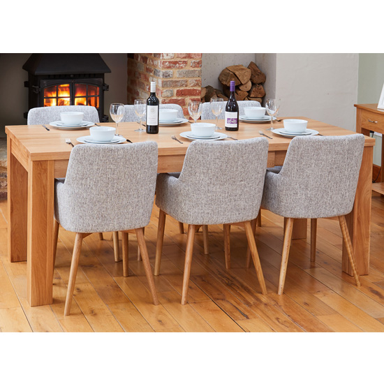 Fornatic Extending Mobel Oak Dining Table 4 Light Grey Chairs