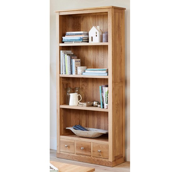 Fornatic Large Wooden Bookcase In Mobel Oak With 3 Drawers_2