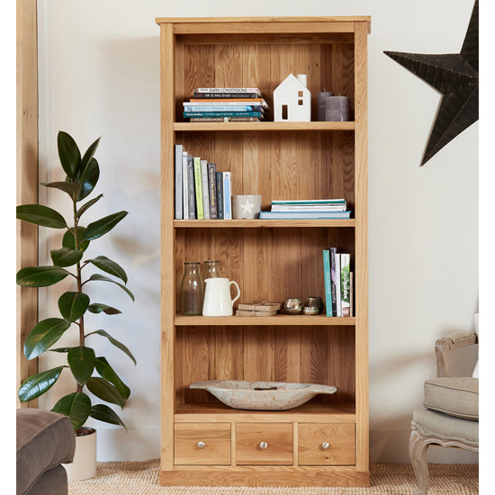 Fornatic Large Wooden Bookcase In Mobel Oak With 3 Drawers_1