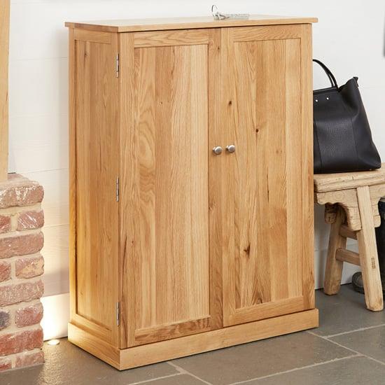 View Fornatic large wooden shoe storage cabinet in mobel oak