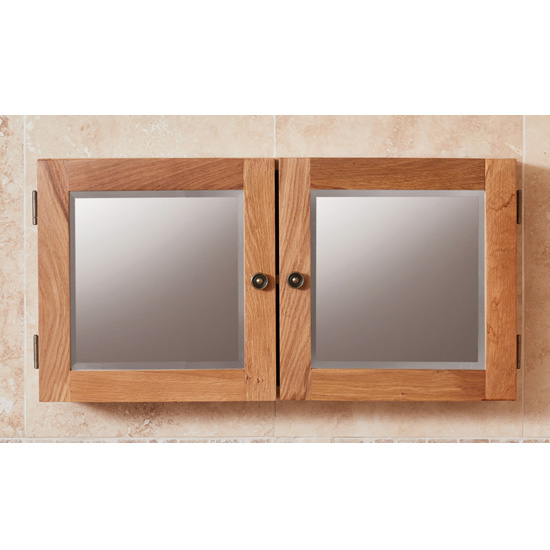 Fornatic Mobel Oak Bathroom Mirrored 2 Door Wall Storage Unit_1