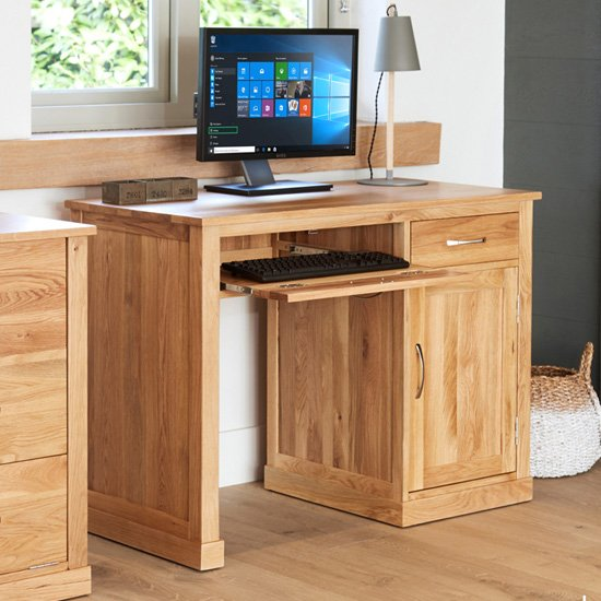 Fornatic Single Pedestal Wooden Computer Desk In Mobel Oak
