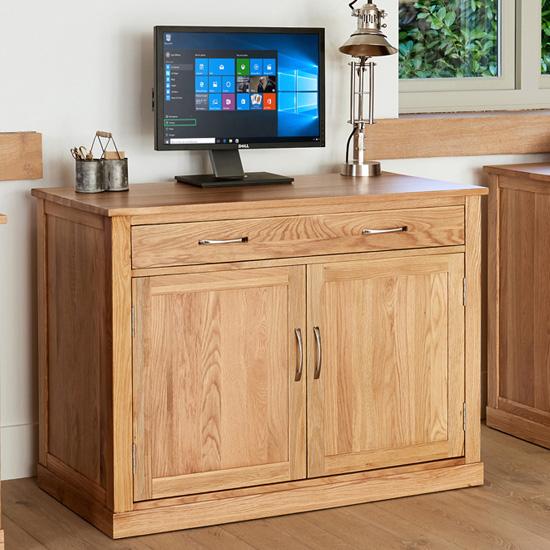 View Fornatic wooden computer desk in mobel oak with 2 doors