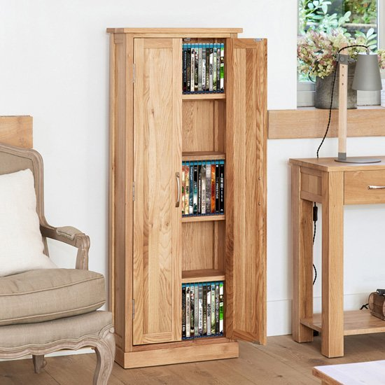 View Fornatic wooden dvd storage cabinet in mobel oak