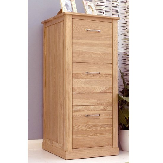Fornatic Wooden Filing Cabinet In Mobel Oak With 3 Drawers