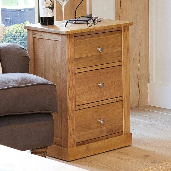 Fornatic Wooden Lamp Table In Mobel Oak With 3 Drawers