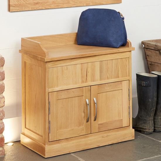 View Fornatic wooden shoe storage bench in mobel oak
