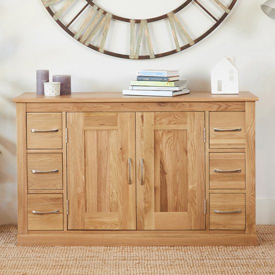 Fornatic Wooden Sideboard In Mobel Oak With 2 Doors 6 Drawers