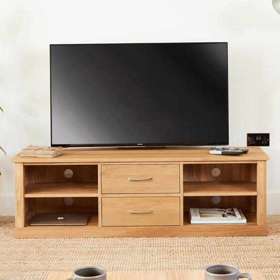 Fornatic Wooden TV Stand In Mobel Oak With 2 Drawers 2 Shelves_1