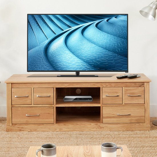 Fornatic Wooden TV Stand In Mobel Oak With 6 Drawers 1 Shelf_1
