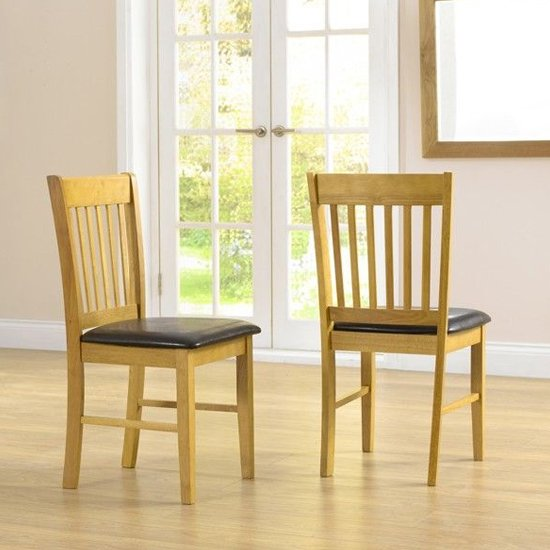 Fornax Solid Hardwood Dining Chairs In Pair