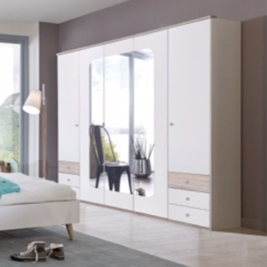 Fornax Wooden Wardrobe In White With 3 Mirrors