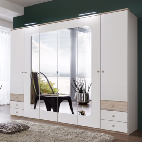 Fornax Wooden Wardrobe In White With 4 Mirrors