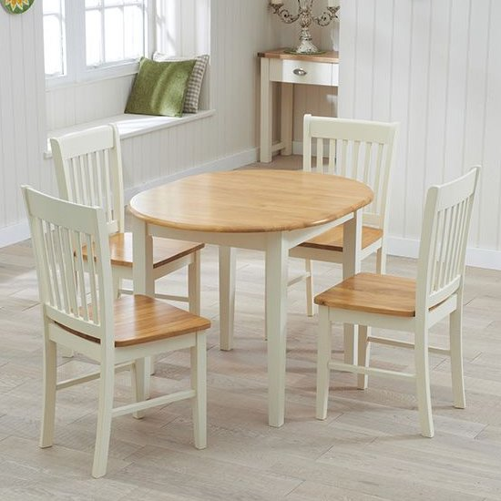 Fornax Wooden Dining Table In Oak And Cream