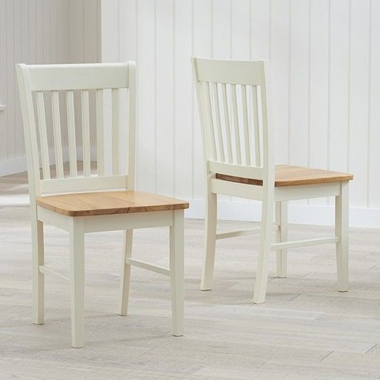 Fornax Wooden Oak And Cream Dining Chairs In Pair