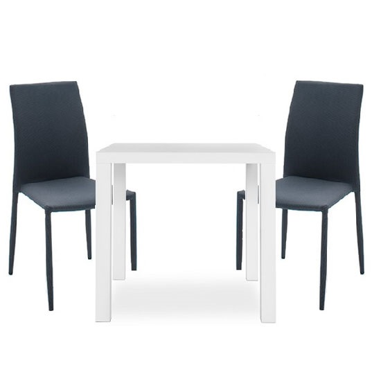 Fortis Bistro Set In White High Gloss With 2 Mila Chairs