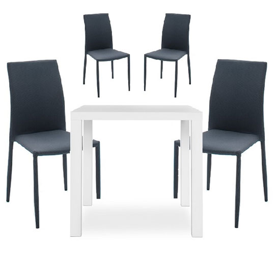 Fortis Dining Table In White High Gloss With 4 Mila Chairs