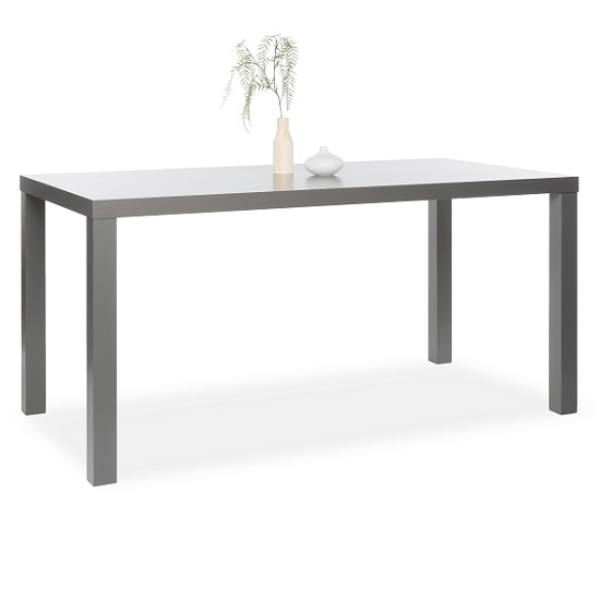 Fortis Large Dining Table Rectangular In Dark Grey High Gloss