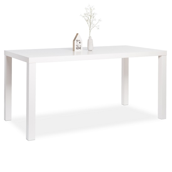 Fortis Large Dining Table Rectangular In White High Gloss