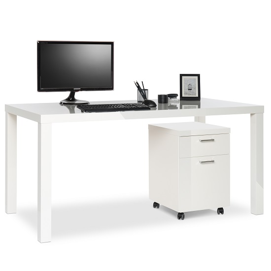 Fortis Office Cabinet In White High Gloss With Rollers_6