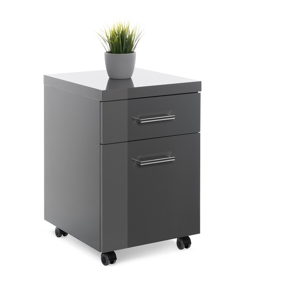 Fortis Office Cabinet In Dark Grey High Gloss With Rollers