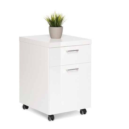 Read more about Fortis office cabinet in white high gloss with rollers