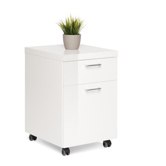 Fortis Office Cabinet In White High Gloss With Rollers_1
