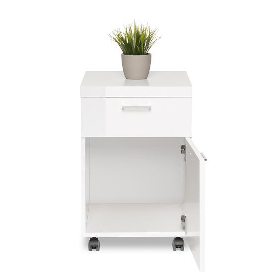 Fortis Office Cabinet In White High Gloss With Rollers_3