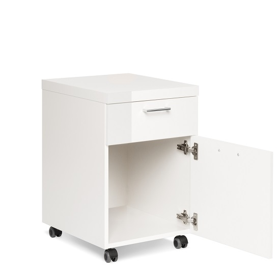 Fortis Office Cabinet In White High Gloss With Rollers_2